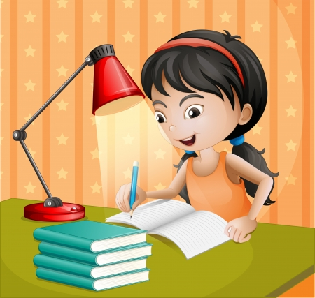 woman reading book: Illustration of a girl writing with a lampshade