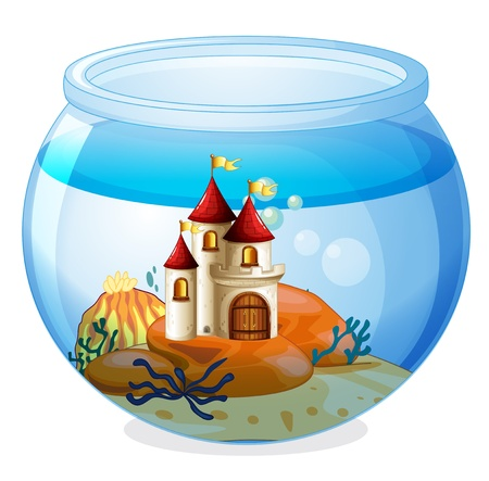 Illustration of an aquarium with a castle on a white background Çizim