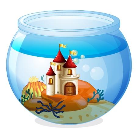 Ilustración de un acuario con un castillo sobre un fondo blanco