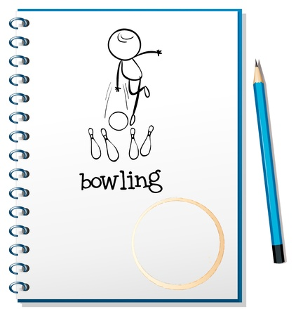 Illustration of a notebook with a sketch of a person playing bowling on a white background Vector
