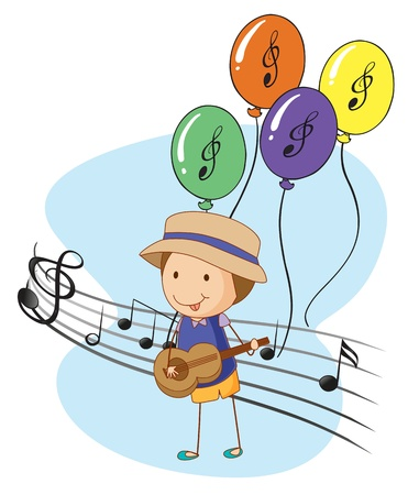Illustration of a young musician with balloons at the back on a white background Illustration