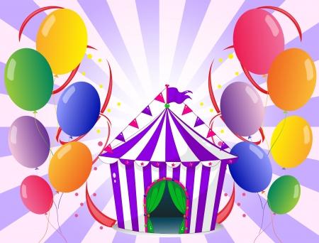 Illustratie van de kleurrijke ballonnen in de buurt van de paarse circustent Vector Illustratie