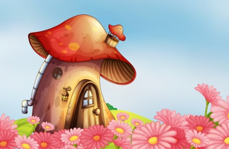 Illustration of a garden with a mushroom house Illustration