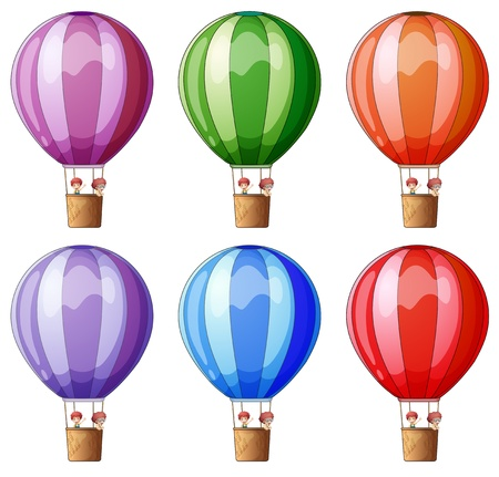 Illustration of the six colorful hot air balloons on a white background Vector