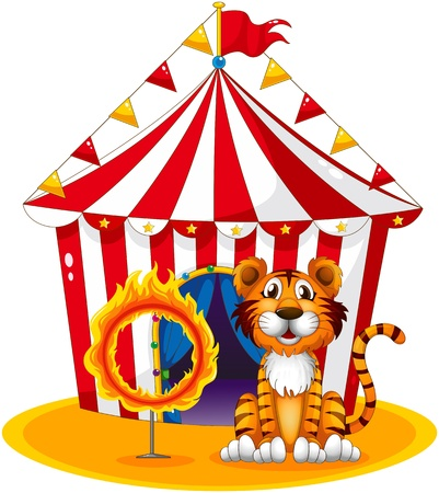 Illustration of a circus tent at the back of the tiger and the ring of fire on a white background Vector