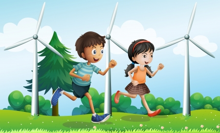 picure: Illustration of a girl and a boy running in the hill with windmills Illustration