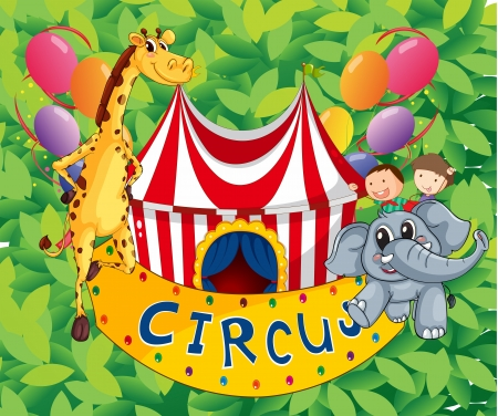 picure: Illustration of a circus tent with animals and kids