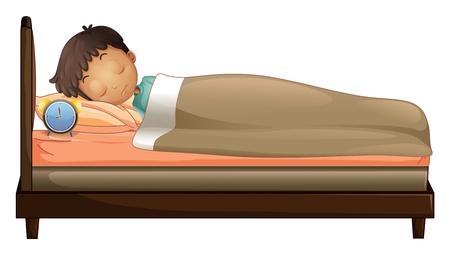 enfant qui dort: Illustration d'un garçon dormant avec un réveil sur un fond blanc