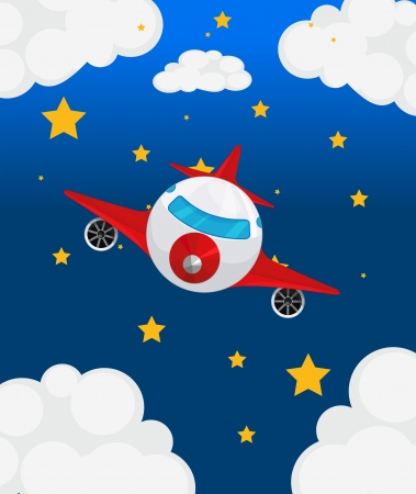 Illustration of an airplane at the sky Vector