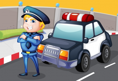Illustration of a smiling policeman standing in front of a police car  Vector