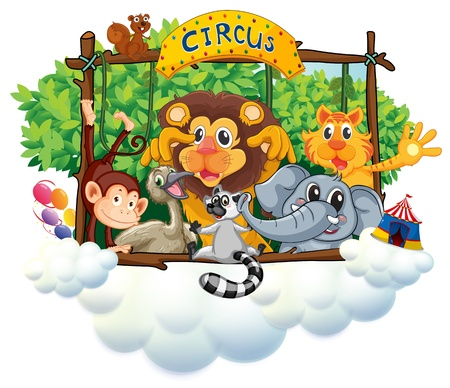Illustration of the different animals at the circus on a white background Vector