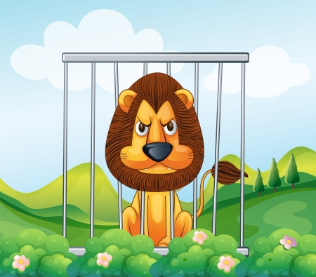 prison bars: Illustration of a cage in the hill with a lion