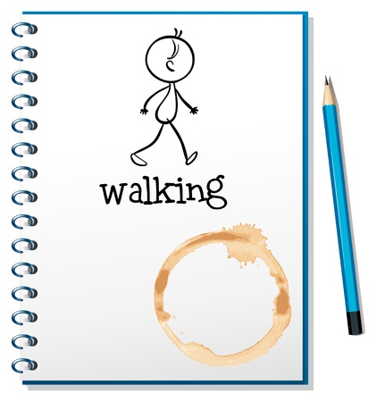 picutre: Illustration of a notebook with a sketch of a person walking at the cover page on a white background Illustration