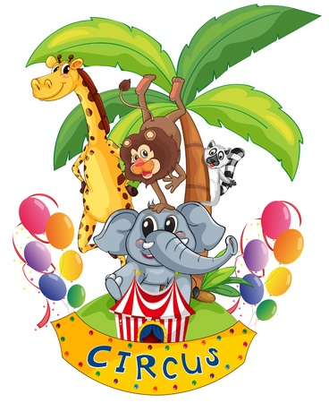 show plant: Illustration of an island full of circus animals on a white background