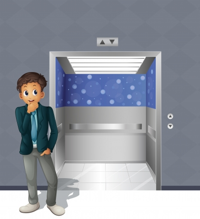 Illustration of a boy standing outside the elevator Vector