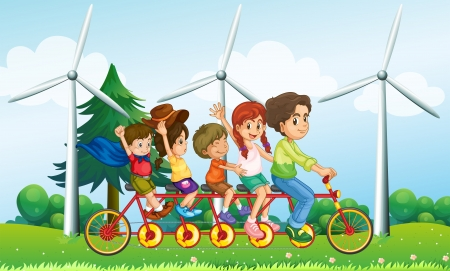 multiple image: Illustration of the five kids riding at the bike near the windmills Illustration