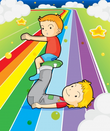 indigo: Illustration of two boys playing at the colorful road Illustration