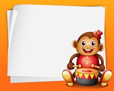 музыка: Иллюстрация пустой лист бумаги с музыкальным обезьяны на оранжевом фоне