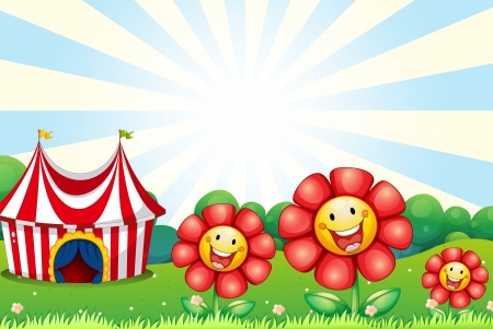 show plant: Illustration of the three plastic flowers and a tent at the top of the hill