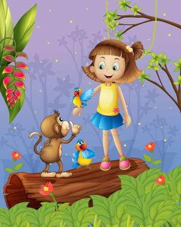 Illustration of a young girl with two parrots and a monkey in the forest Vector