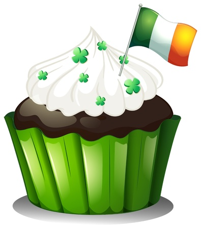 feast of saint patrick: Illustration of a chocolate cupcake with clover plants and the flag of Ireland on a white background Illustration