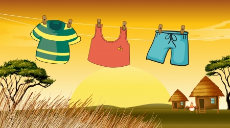 birds scenery: Illustration of the clothes hanging in the wire