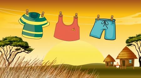 umyty: Ilustracja ubrania wiszące na drucie