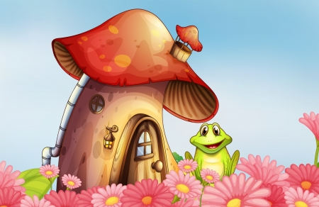 Illustration of a frog near the mushroom house with a garden of flowers