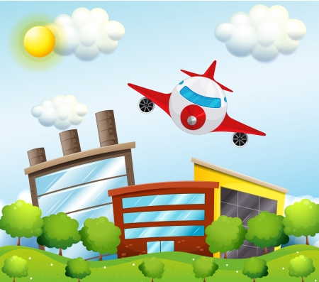 Illustration of an airplane in the city Stock Vector - 18789295