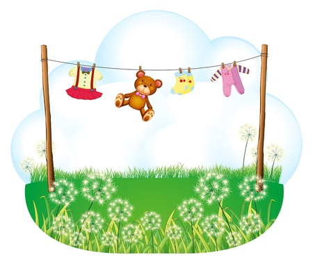 Illustration of the baby things hanging above the weeds on a white background Vector