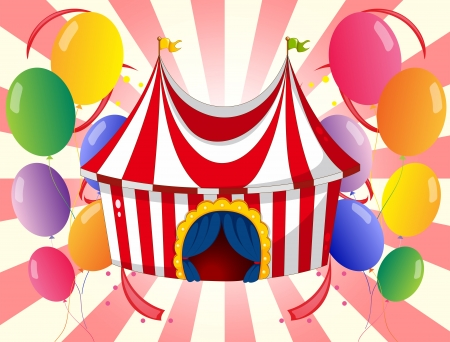Illustration of a red circus tent with colorful balloons  Illustration