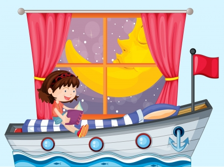 Illustration of a ship inside the house with a girl reading Vector