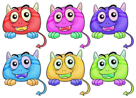 Illustration of the six colorful monster heads on a white background Vector