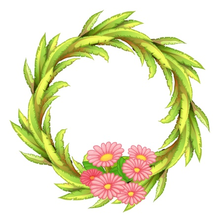 picutre: Illustration of a round border with pink flowers on a white background