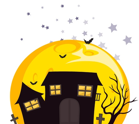 house fly: Illustration of the bats near the scary haunted house on a white background Illustration
