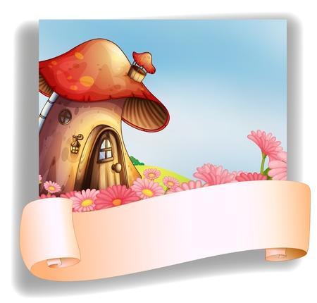 pilz cartoon: Illustration von einem Pilz Haus mit einer Beschilderung auf wei�em Hintergrund