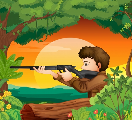 Illustration of a man with a gun at the woods Vector