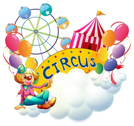 Illustration of a female clown at the carnival on a white background Vector