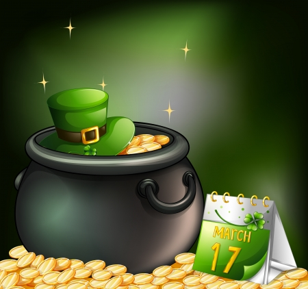 seventeenth: Illustration of a pot of gold coins and a hat with a calendar at the side Illustration