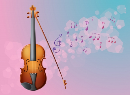 Illustration of a stationery with a violin and musical notes Stock Vector - 18789509