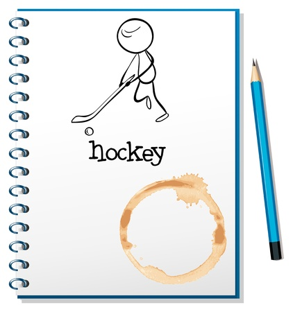cover page: Illustration of a notebook with a person playing hockey at the cover page on a white background Illustration