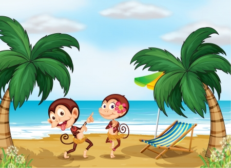 Illustration of the two monkeys wearing a hawaiian attire Vector