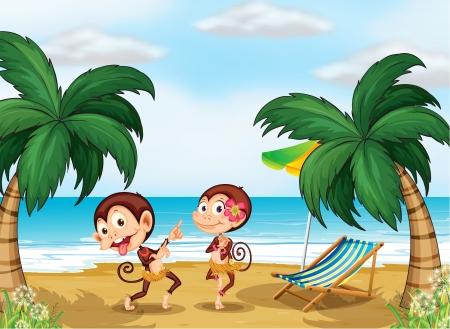 sea bed: Illustration of the two monkeys wearing a hawaiian attire Illustration