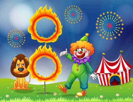 Illustration of a lion and a clown performing Vector
