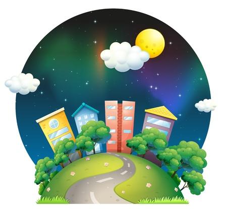 soir�e: Illustration d'une ville avec de grands b�timents et des arbres sur un fond blanc Illustration
