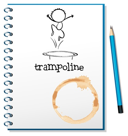 notebook cover: Illustration of a notebook with a trampoline at the cover on a white background