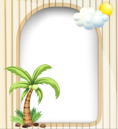 coconut tree: Illustration of an empty template with a coconut tree