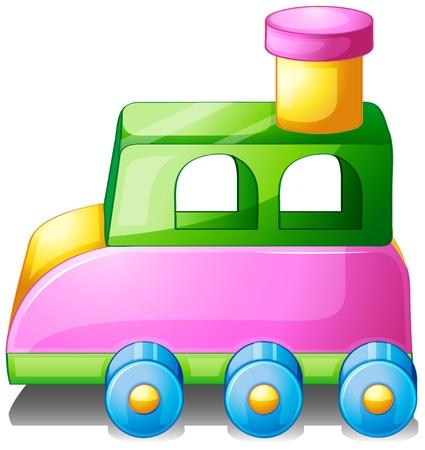zug cartoon: Illustration von einem bunten Spielzeugauto auf wei�em Hintergrund