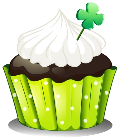 Illustration of a chocolate cupcake with a green plant on a white background Vector