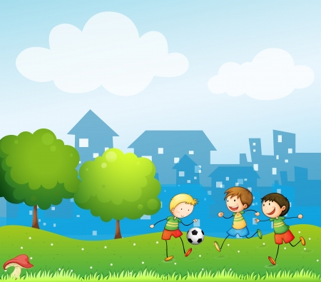 Illustration of the three kids playing soccer in the hill Vector